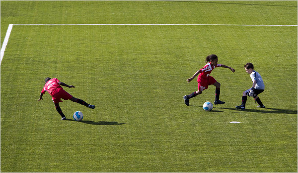 Under-10 players at work at the Ajax academy in Amsterdam